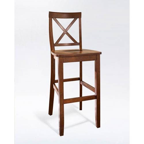 Crosley Furniture X Back Bar Stool In Classic Cherry Finish With 30