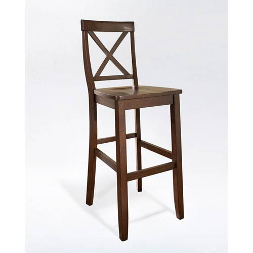 Crosley Furniture X-Back Bar Stool in Mahogany Finish with 30 Inch Seat Height- Set of Two