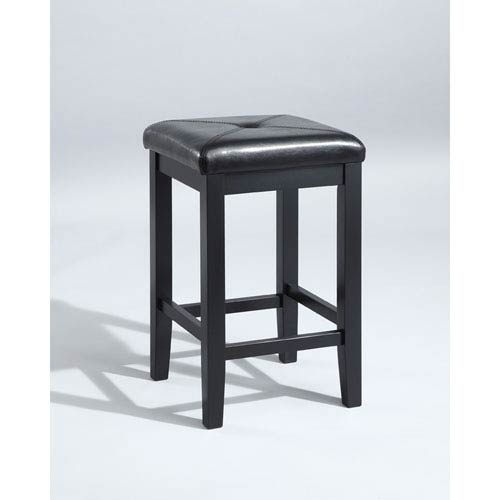 Crosley Furniture Upholstered Square Seat Bar Stool In Black Finish With 24 Inch Height Set Of Two