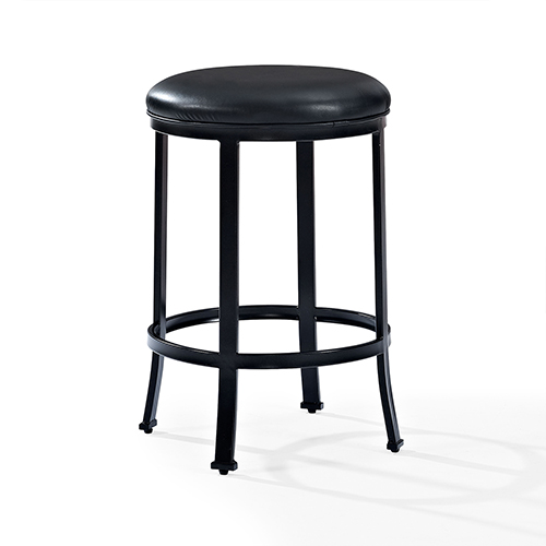 Crosley Furniture Windsor Counter Stool in Black With Black Cushion