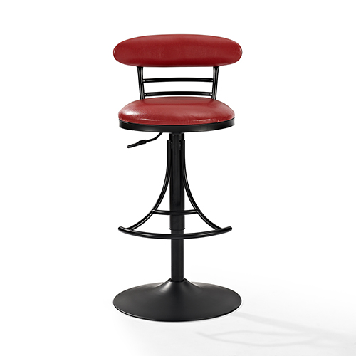 Crosley Furniture Jasper Swivel Counter Stool In Black With Red Cushion