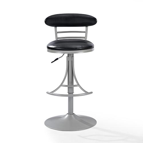 Jasper Swivel Counter Stool in Platinum With Black Cushion