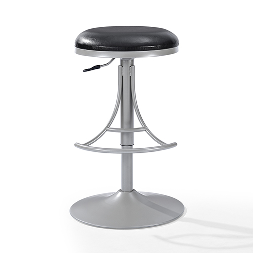 Awesome Jasper Backless Swivel Counter Stool In Platinum With Black Cushion Unemploymentrelief Wooden Chair Designs For Living Room Unemploymentrelieforg