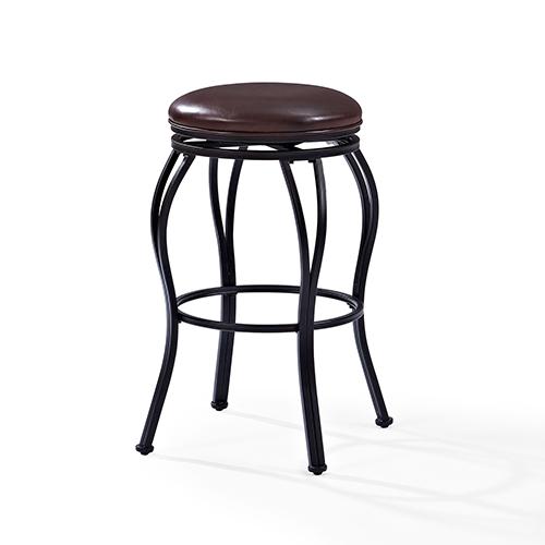 Crosley Furniture Kemper Swivel Bar Stool in Black With Brown Cushion