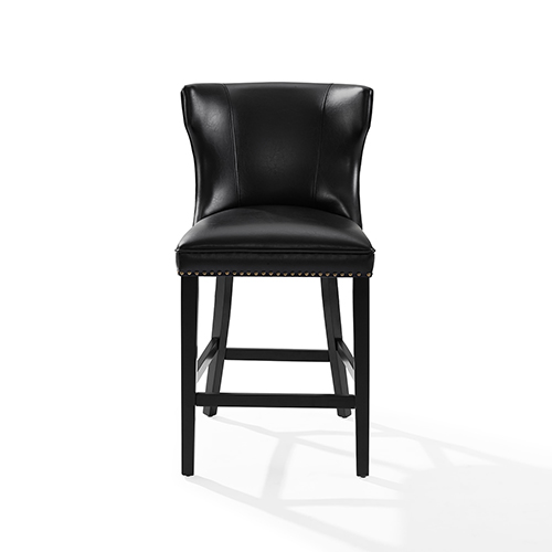 Crosley Furniture Tilson Counter Stool in Black With Black Cushion