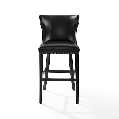 Crosley Furniture Tilson Bar Stool in Black With Black Cushion