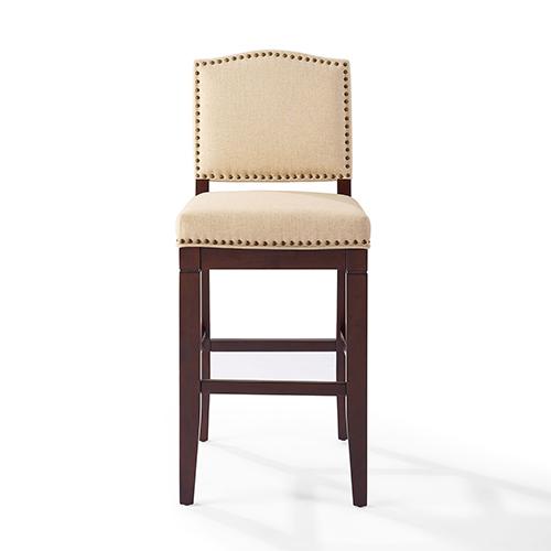 Crosley Furniture Bryson Bar Stool in Mahogany With Oatmeal Cushion