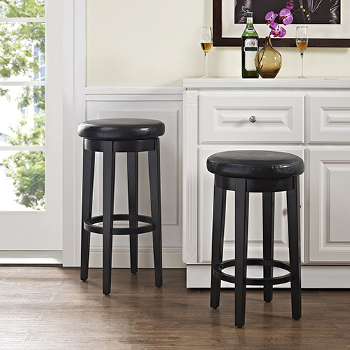 Crosley Furniture Mitchell Swivel Counter Stool in Black With Black Cushion Set Of 2