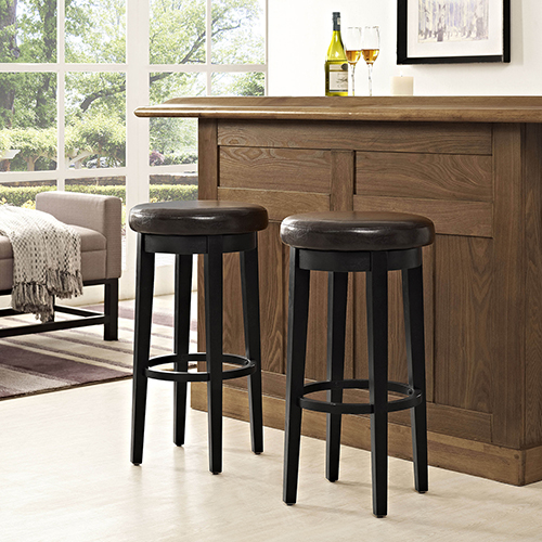 Mitchell Swivel Bar Stool in Black With Brown Cushion Set Of 2