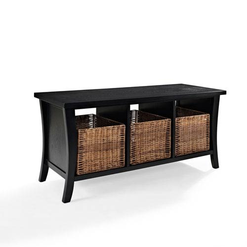 Crosley Furniture Wallis Black Entryway Storage Bench