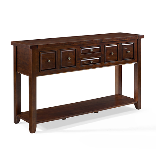 Crosley Furniture Sienna Entryway Table in Rustic Mahogany
