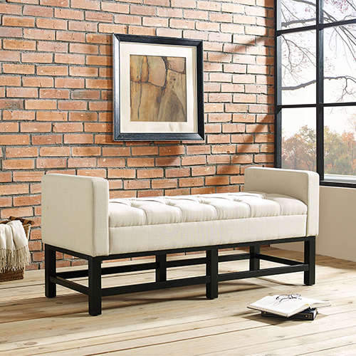 Claremont Upholstered Bench in Creme