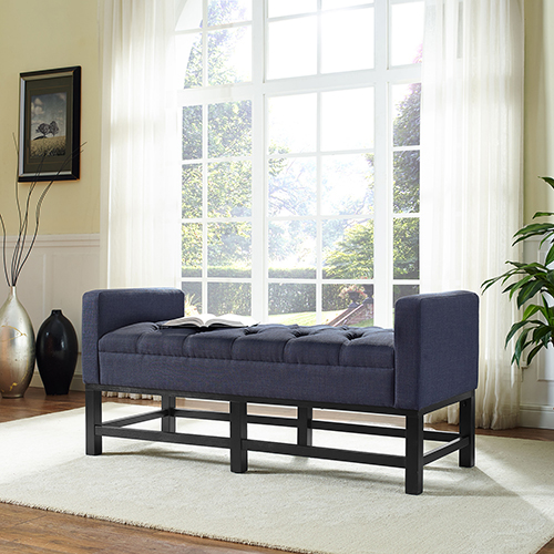 Claremont Upholstered Bench in Navy