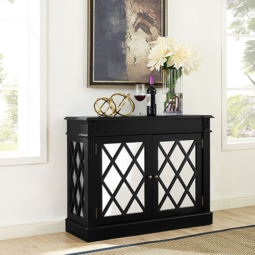 Rialto Mirrored Accent Table in Distressed Black