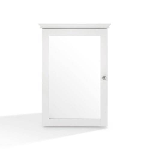 Crosley Furniture Lydia White Mirrored Wall Cabinet