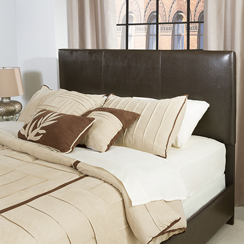 Drake Full or Queen Headboard in Brown Leatherette