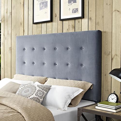 Reston Square Upholstered Full or Queen Headboard in Cornflower Microfiber