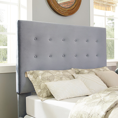 Reston Square Upholstered Full or Queen Headboard in Shale Microfiber
