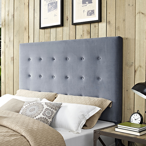 Reston Square Upholstered King or Cal King Headboard in Cornflower Microfiber