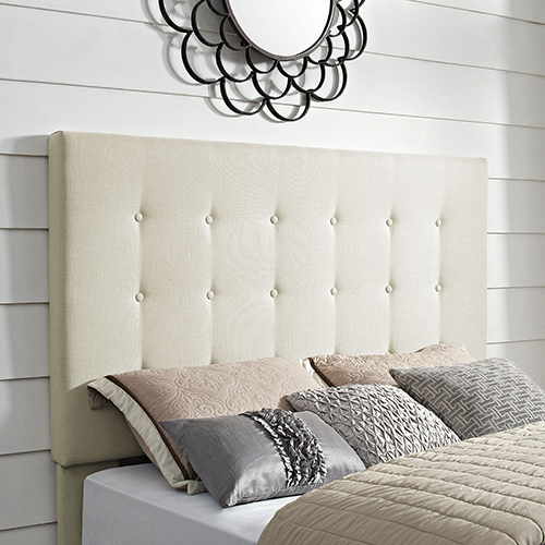 Reston Square Upholstered King or Cal King Headboard in Creme Linen