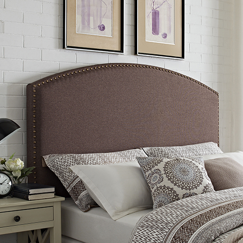 Cassie Curved Upholstered Full or Queen Headboard in Bourbon Linen