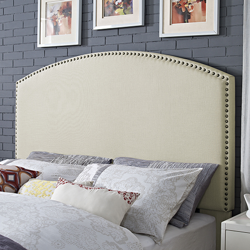 Crosley Furniture Cassie Curved Upholstered Full or Queen Headboard in Creme Linen