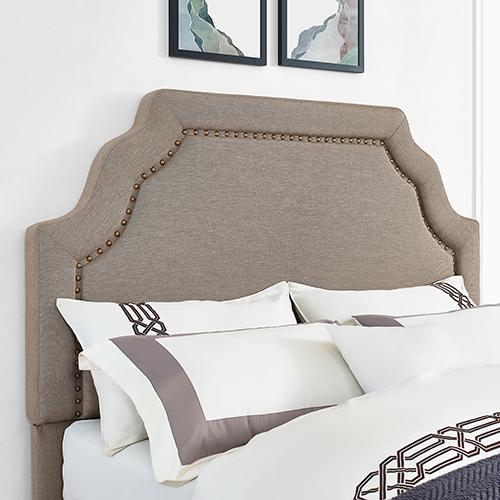 Loren Keystone Upholstered Full or Queen Headboard in Oatmeal Linen