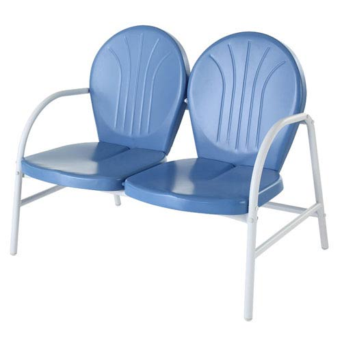 Griffith Metal Loveseat in Sky Blue Finish