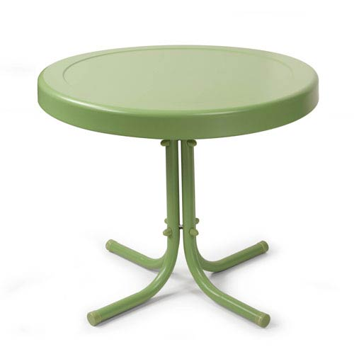 Retro Oasis Green Metal Outdoor Side Table