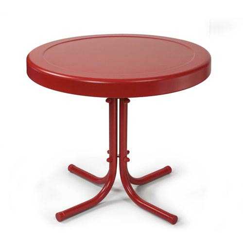 Retro Coral Red Metal Outdoor Side Table