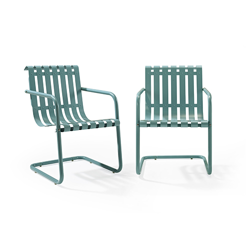 Gracie Stainless Steel Chair - Blue Set of 2