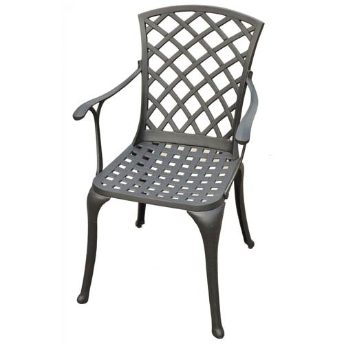 Sedona Cast Aluminum High Back Arm Chair in Charcoal Black Finish- Set of Two