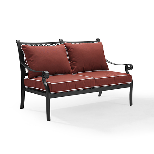 Palermo Cast Aluminum Love Seat in Charcoal Black Finish With Sangria Cushions