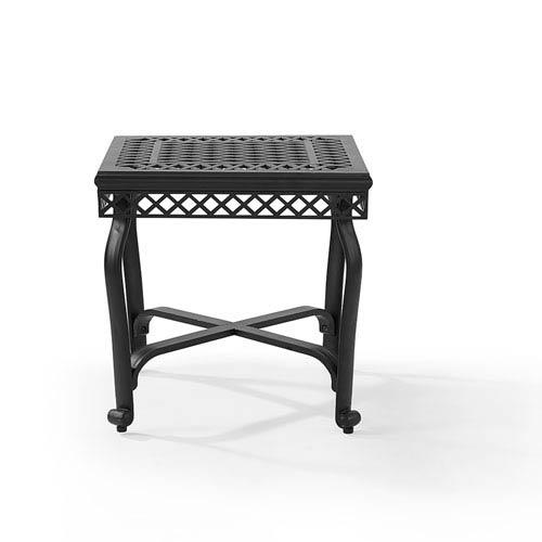 Crosley Furniture Portofino Black Cast Aluminum End Table