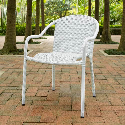 Palm Harbor White Outdoor Wicker Stackable Chair, Set of 4