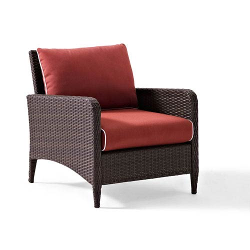 Crosley Furniture Kiawah Outdoor Wicker Arm Chair with Sangria Cushions