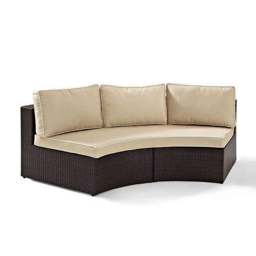 Crosley Furniture Catalina Outdoor Wicker Round Sectional Sofa with Sand Cushions