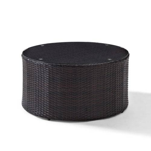 Crosley Furniture Catalina Outdoor Wicker Round Gl Top Coffee Table