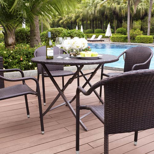 Crosley Furniture Palm Harbor Brown Outdoor Wicker Folding Table