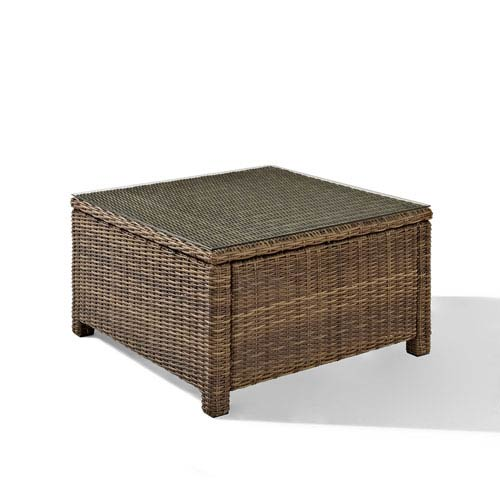 Genial Crosley Furniture Bradenton Outdoor Wicker Sectional Glass Top Coffee Table