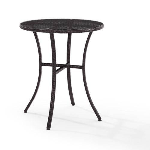 Crosley Furniture Palm Harbor Brown Outdoor Wicker Bistro Table - Crosley Furniture Palm Harbor Brown Outdoor Wicker Bistro Table