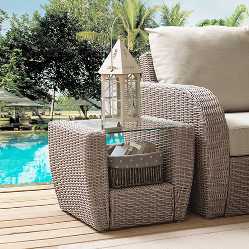 Crosley Furniture St Augustine Outdoor Wicker Side Table in Weathered White