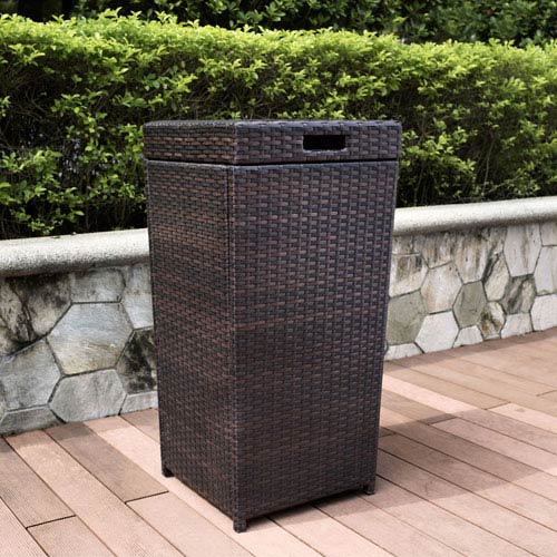 Palm Harbor Brown Outdoor Wicker Trash Bin