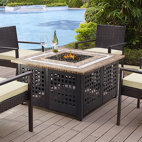 Tuscon Outdoor Propane Fire Table With Stone Top