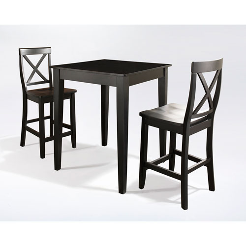 Three Piece Pub Dining Set with Tapered Leg and X-Back Stools in Black Finish
