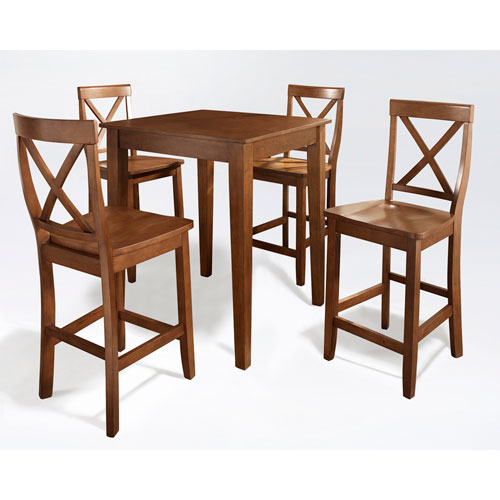 Five Piece Pub Dining Set with Tapered Leg and X-Back Stools in Classic Cherry Finish