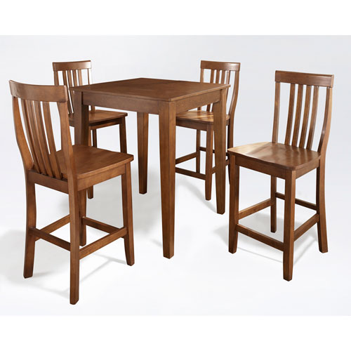Five Piece Pub Dining Set with Tapered Leg and School House Stools in Classic Cherry Finish