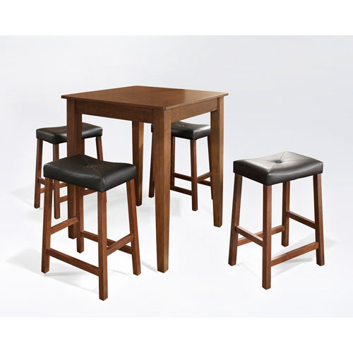 Five Piece Pub Dining Set with Tapered Leg and Upholstered Saddle Stools in Classic Cherry Finish