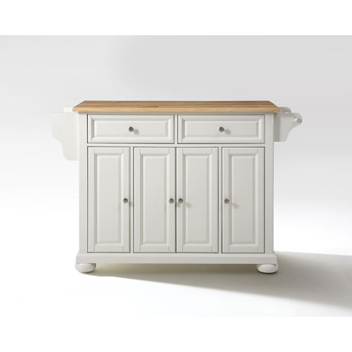 Alexandria Natural Wood Top Kitchen Island in White Finish