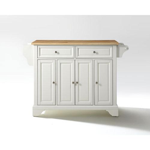Crosley Furniture LaFayette Natural Wood Top Kitchen Island in White Finish